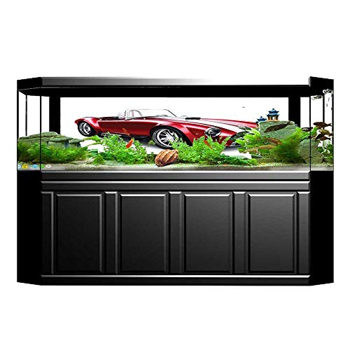 Coupe Triangle - JiahongPan Background Fish Tank Decorations Coupe Car Automobile with Smooth Bright Color Effects Red PVC Paper Cling Decals Sticker L35.4 x H15.7