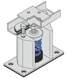 8-3/4''H 5/8''Dia Bolt 85Lb Cap Floor Mount Seismic & Wind Vibration Isolator by MASON INDUSTRIES INC