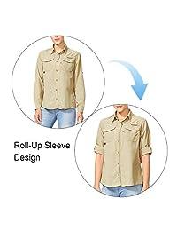 Baleaf - Camisa de manga larga para mujer, para senderismo, protección solar, SPF