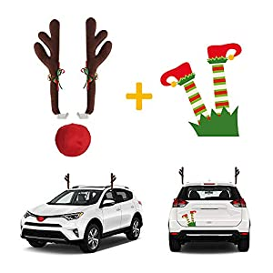 Christmas Car Decorations – 2x Reindeer Antlers for Car with Rudolf Nose and Santa's Littler Helper Leg Magnet – Holiday Auto Accessories – Universal Design for All Car, SUV and Truck Models
