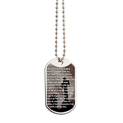 CafePress - Apostles Creed With Gothic Cross Prayer C - Military Style Dog Tag, Stainless Steel with (Mary Personalized Prayer Card)