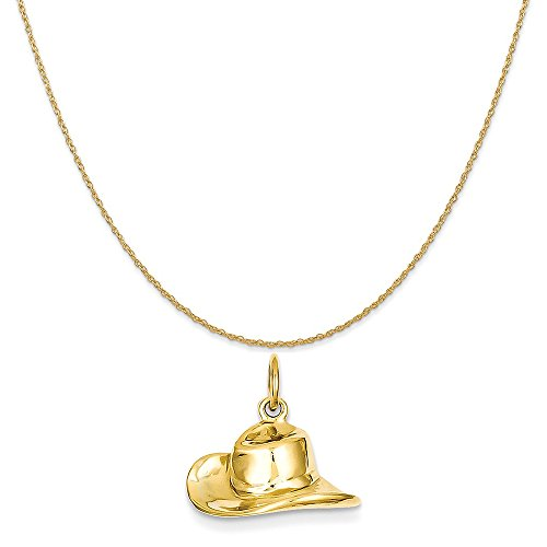 14k Yellow Gold Cowboy Hat Charm on a 14K Yellow Gold Rope Chain Necklace, 20