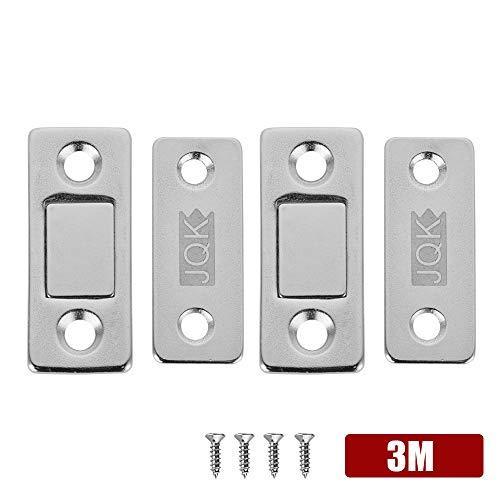 "JQK Drawer Magnetic Door Catch, Thin (1/7"") Stainless Steel Cabinet Magnet Ultrathin Furniture Latch for Sliding Door Closure Kitchen Cabinet Closer Cupboard(2 Pack), 15 lbs Magnet Silver, HCC200-P2"