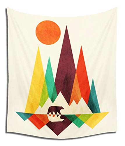 Felu Wall Hanging Tapestries, The Bear in The Colorful Mountain Wall Art Tapestry Boho Hippie Curtain for Children's Room Dorm Decor 51x59 Inchs