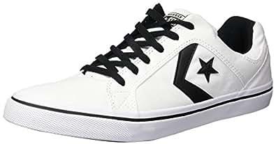Converse Men's EL Distrito Canvas Low Top Sneaker, White/Black/White, 5 M US