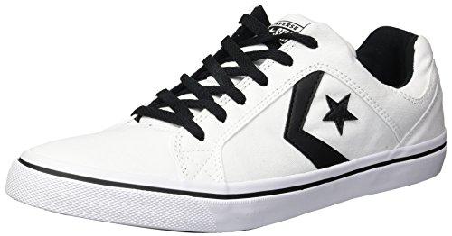 Converse Men's El Distrito Canvas Low Top Sneaker, Black/White, 11 M US