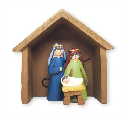 Children's Christmas Nativity scene smalll set ornament faux wood shed 10cm