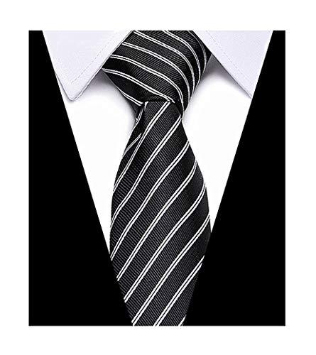 (Men Boy Classic Black and White Stripe Silk Tie Jacquard Woven Business)
