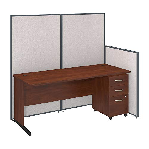 Bush Business Furniture 72W C Leg Desk and 3 Drawer Mobile Pedestal with Propanels - Light Gray 38W X 74D X 67H Ergonomichome Bush Business Furniture Scroll Down for Product Description