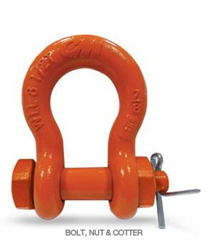 CM M849G Super Strong Anchor Shackle with Galvanized Bolt, Nut and Cotter, 2 Ton Work Load Limit, 7/16