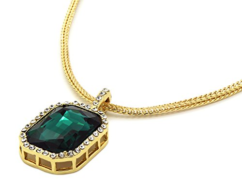 Mens Gold Tone Iced Out Green Octagon Ruby Pendant With 3mm 24