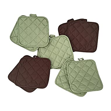 5 (FIVE) Sets of The Home Store Cotton Pot Holders, 2-ct. Color Variety Pack Kitchen Cooking Chef Linens (Green & Brown)