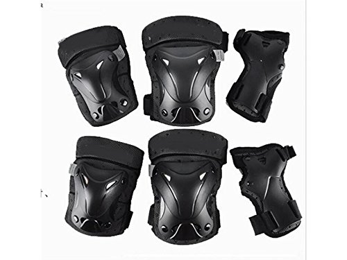 Wetietir Skating 6 Pcs/Set Kid's Protective Gear Set with Elbow Knee Handguard for Roller Skating Skateboard BMX Scooter Cycling (Black XS) for Protection by Wetietir