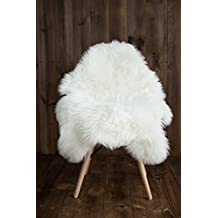 My Comfy Zone Silky Faux Sheepskin Chair Cover/ Rug /Seat Pad/ Area Rugs For Bedroom Sofa Floor 2ft x 3ft (White)