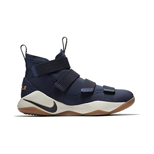 Nike LeBron Soldier XI Mens Basketball Shoes (10.5, Midnight Navy/Metallic Gold)