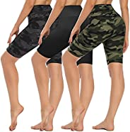"""HLTPRO High Waist Biker Shorts for Women - 8"""" Tummy Control Stretchy Shorts for Running, Workout, Cycling"""