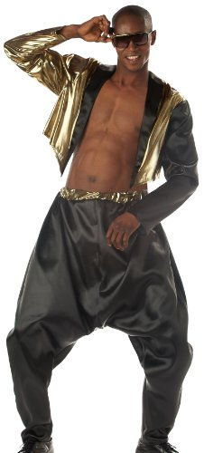 California Costumes Men's Old School Rapper Costume, Black/Gold, Large/X-Large