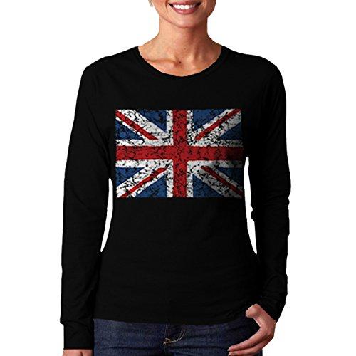 Wellcoda | British England Flag London Women Long Sleeve T-Shirt NEW Black L