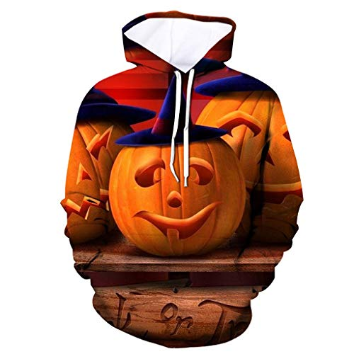Holzkary Men's Horror Halloween Costume Funny 3D Printed Party Hooded Pullover Tops Long Sleeve Sweatshirts ()