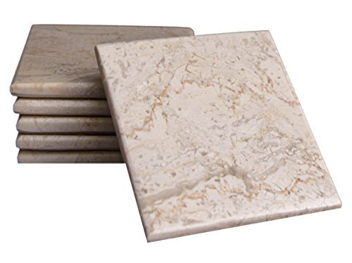 CraftsOfEgypt Set of 6 - Beige Marble Stone Coasters - Polished Coasters - 3.5 x 3.5 Inches (9x9 cm) Square - Protection from Drink Rings