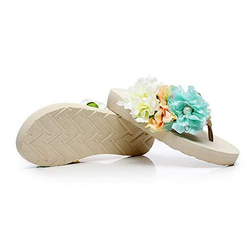 Beach Flops Flowers Platform Summer Lulyl Uk Eu 41 6 Bohemian Beige Flip Wedges Women Soft Sandals IzAIxqg