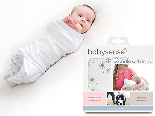 (Cuddlegrow Swaddle Blanket/Award-Winning Baby Wrap with Legs | Home, Car, Travel, Stroller | Stretchy & Safe 100% Premium Breathable Cotton for Sleep,Temperature, Feeding, Calming)