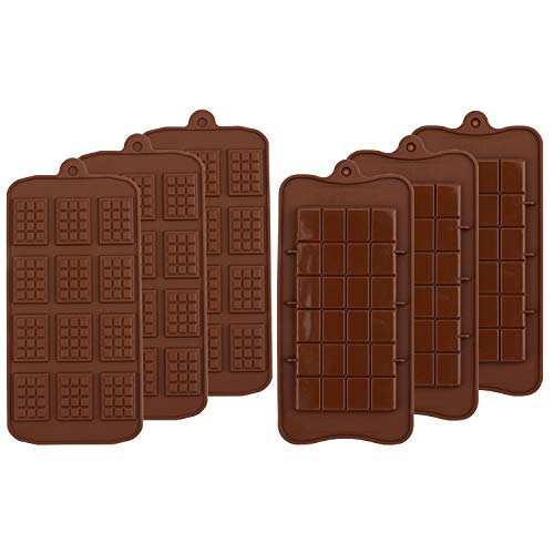 Kingrol 6-Pack Silicone Break-Apart Chocolate Molds, Food Grade Non-Stick Candy Protein and Engery Bar Silicone Mold -