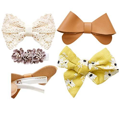 California Tot Set of 4 Premium Mixed Bows for Fine Hair Clips Strong Grip for Toddlers