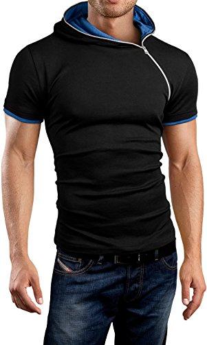 Courtes Asymétrique shirt amp;bear Slim Bh135 Grin manches Sweat Noir Éclair Capuche Fit À bleu Fermeture 6fTzgWn