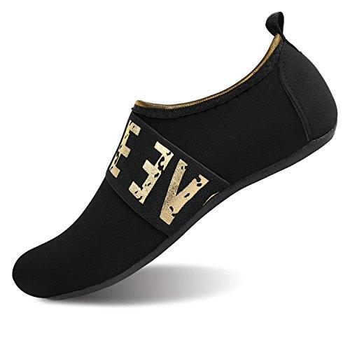 Barerun Women's Men's Quick Drying Aqua Water Shoes Black Women Size 11-12 Men Size 9-10