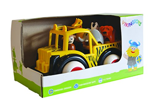 Viking Safari Jeep - Includes Driver, Giraffe, Elephant, Zebra & Tiger - Dishwasher Safe Soft Plastic 7.5