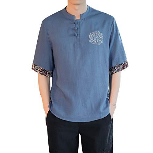 (Shirts Short Sleeve Beach Henley Shirt Summer Button Up Tops Cotton Lightweight Tees Plain Mandarin Collar Blouses Blue)