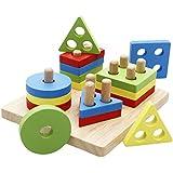 Lewo Wooden Puzzle Toddler Toys Shapes Sorter Preschool Geometric Blocks Stacking Games Kids