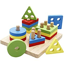 Lewo Wooden Puzzle Toddler Educational Toys Shapes Sorter Preschool Geometric Blocks Stacking Games for Kids