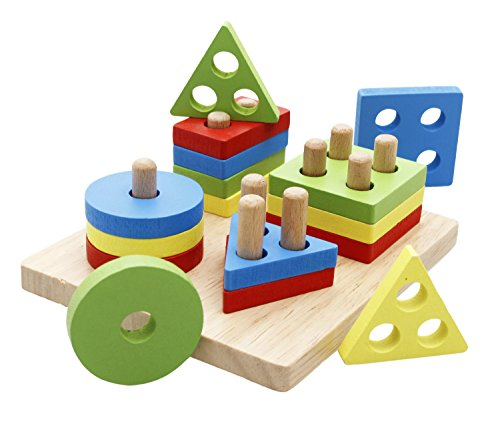 Lewo Wooden Puzzle Toddler Toys Shapes Sorter Preschool Geometric Blocks Stacking Games for Kids (Fine Motor Skill Toys For 1 Year Old)