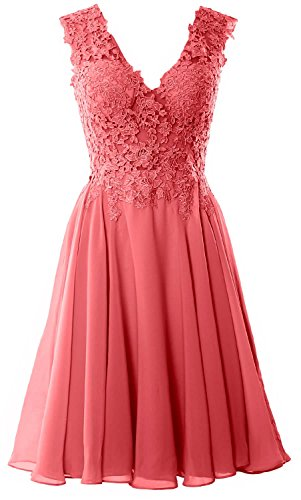 MACloth Gorgeous V Neck Cocktail Dress Short Lace Prom Homecoming Formal Gown Watermelon