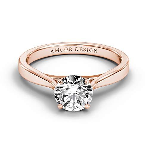 14 KT Rose Gold 3/8 Carat Diamond Engagement Ring Round cut Prong Set Solitaire Amcor Design (0.375 Ct Round Diamond)