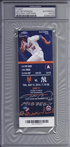 Jacob Degrom Autographed Signed New York Mets MLB Debut Ticket PSA/DNA