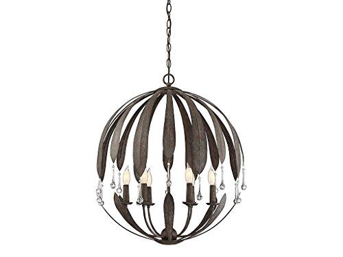 Chandeliers 6 Light with Fieldstone Finish Metal/Glass C Bulb 25 inch 360 Watts