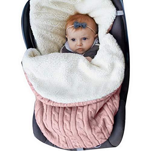 Decha Newborn Baby Unisex Winter Warm Swaddle Blanket Wrap Toddler Sleeping Bag Sleep Sack Soft Cushion Stroller Unisex Wrap for 0-12 Month Baby Boys Girls (Pink, One Size) (Seat Blanket Car)