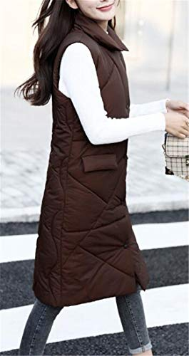 Cotton Puffer Mid 1 Quilted amp;E Long Collar Women's Vest Slim Stand H Padded gqpXq