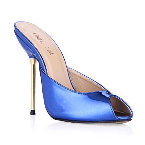 Aguja para Abierta Vestido Punta Tacon Chau Zapatos de a CHMILE Sexy de Azul Fiesta Alto de Metálico Mujer Sandalias 7Exfzzaw