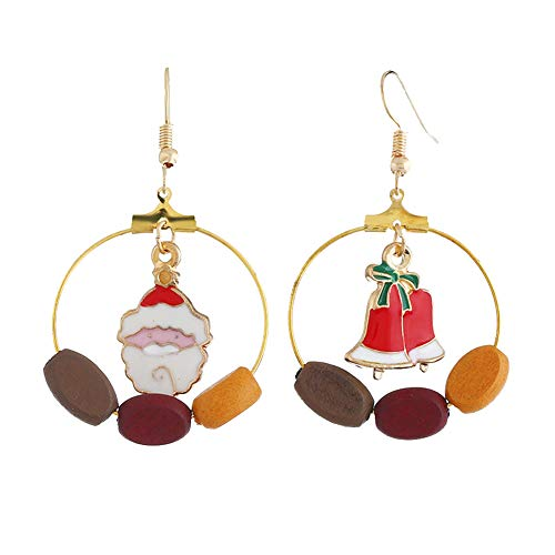 (preliked Christmas Earrings With Asymmetric Santa Claus Christmas Tree Pattern Wooden Beads Hook - 1#)