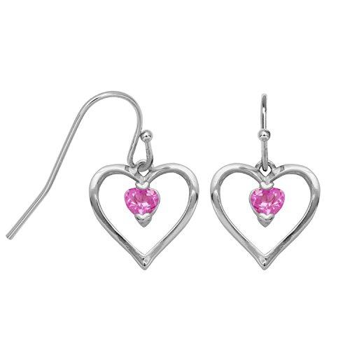 (Sterling Silver Created Pink Sapphire Open Heart Dangle Earrings)