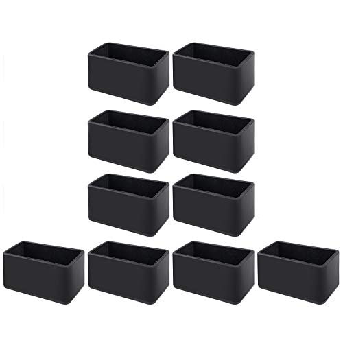 10 pcs Chair Leg Floor Protectors Chair Leg Caps 20 X 40mm Inside Diameter Rectangle Table Chair Feet Protectors, Black by flms love home (Image #2)