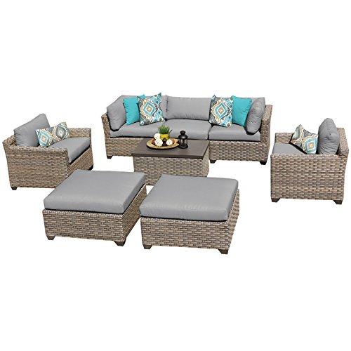 TK Classics MONTEREY-08a-GREY Monterey 8 Piece Outdoor Wicker Patio Furniture Set, Grey
