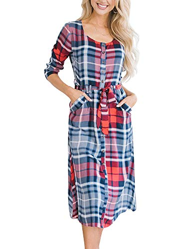(Ybenlow Womens Plaid 3/4 Sleeve Button Down Casual A-Line Belted Party Midi Dress with Pockets)