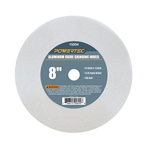 POWERTEC 15504 White Aluminum Oxide Grinding Wheel, 8-Inch by 1-Inch, 5/8-Inch Arbor, 60 Grit