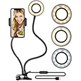 Selfie Ring Light with Cell Phone Holder Stand for Make up YouTube Video, [USB Power Supply] [3 Light Mode] [10-Level Brightness] Live Stream Holder Desk Lamp for iPhone Andorid Facebook Twitter