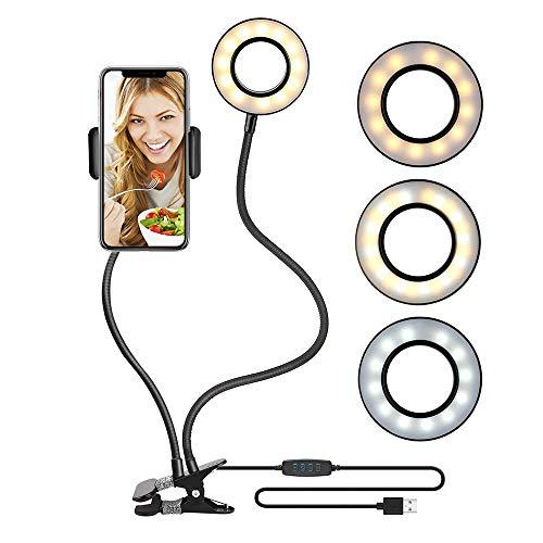 (Selfie Ring Light with Cell Phone Holder Stand for Make up YouTube Video [3 Light Mode] [10-Level Brightness] [USB Power Supply] Live Stream Holder Desk Lamp for iPhone Andorid Facebook Twitter)